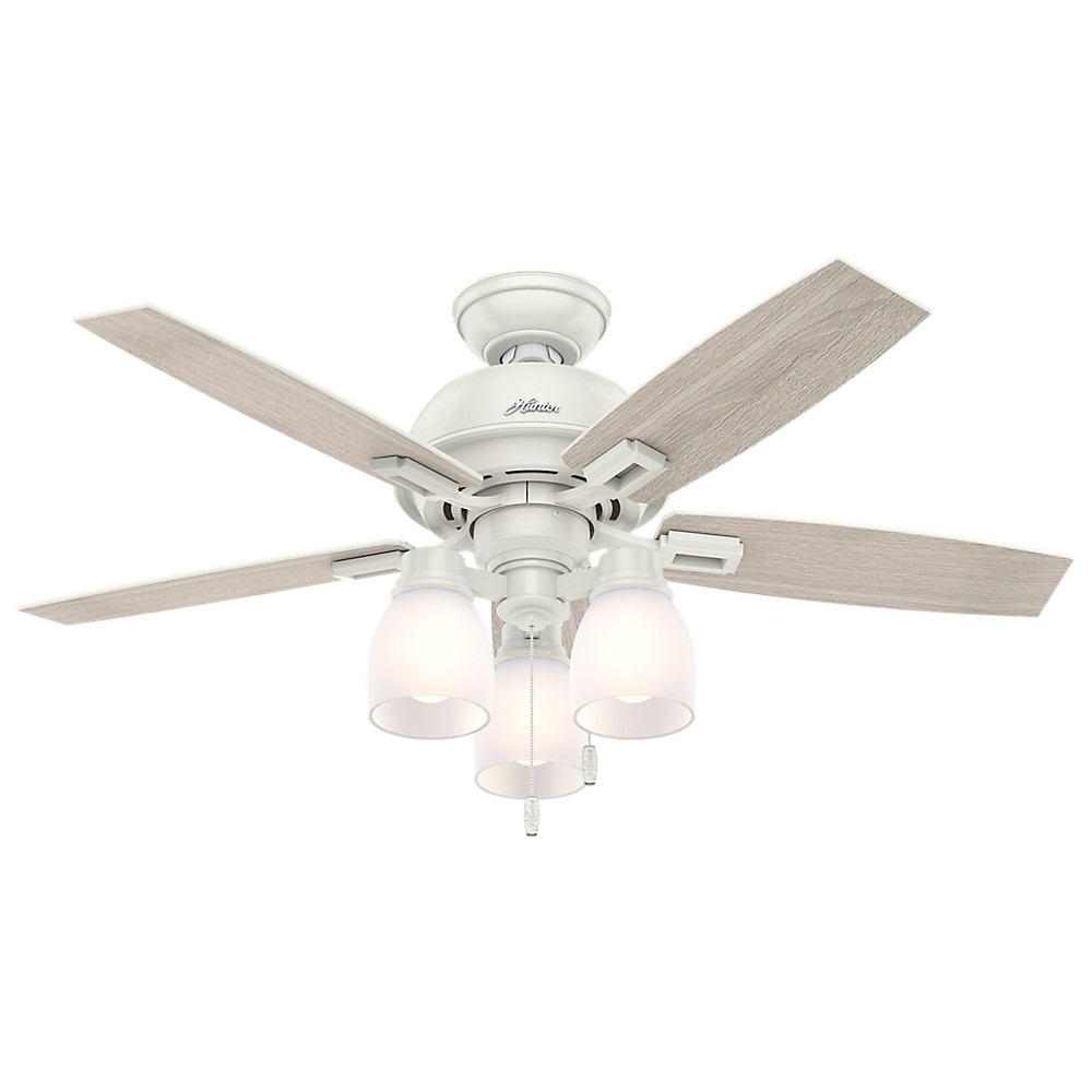 "Image of ""44"""" Donegan Three Light Fresh White Ceiling Fan with Light - Hunter Fan"""