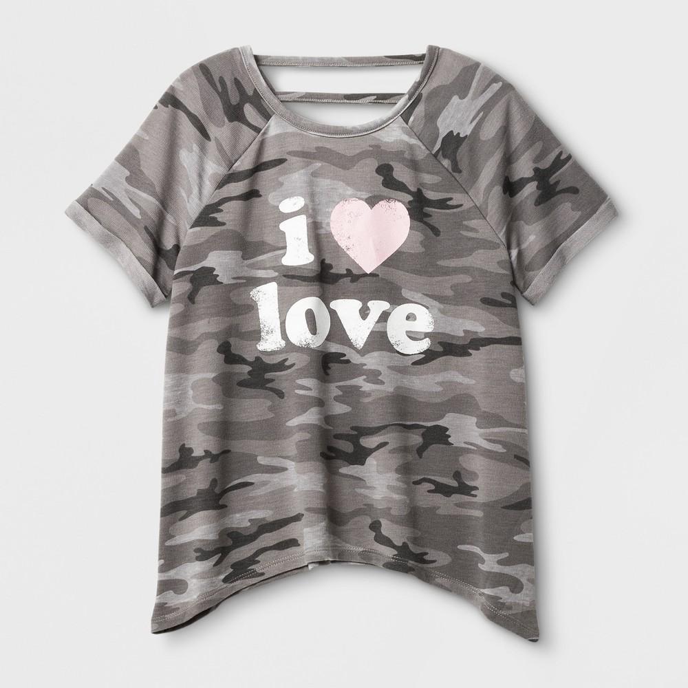 Grayson Social Girls' I Heart Love Short Sleeve Top - Gray L, Shades Of Gray