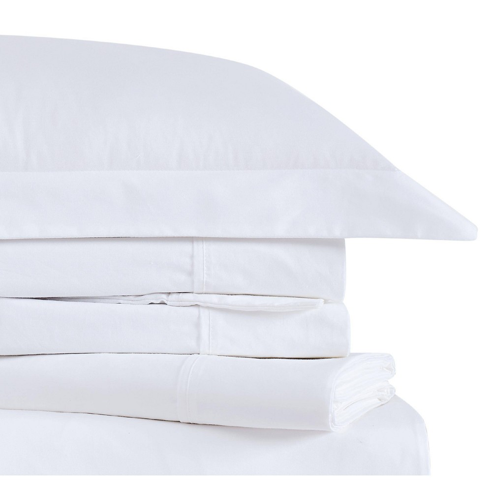 Image of Twin Classic Cotton Solid Sheet Set White - Brooklyn Loom