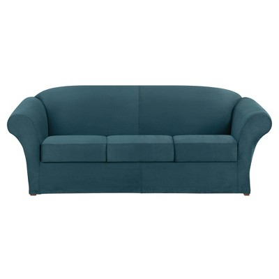 Superbe Ultimate Stretch Suede 4pc Sofa Slipcover Peacock Blue   Sure Fit