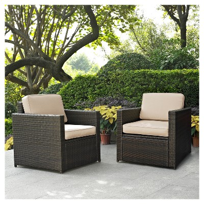 Palm Harbor 2pc Outdoor Wicker Seating Set - Sand - Two Outdoor Wicker Chairs - Crosley