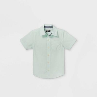 OshKosh B'gosh Toddler Boys' Woven Short Sleeve Button-Down Shirt - Light Green