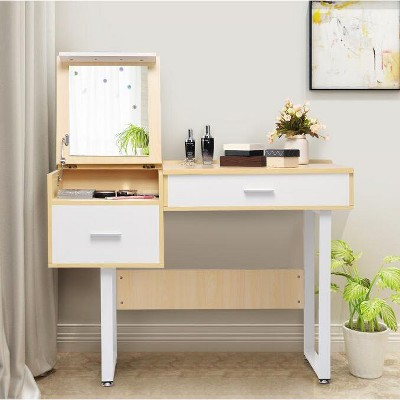 Costway Vanity Table Flip Top Square Makeup Table Writing Table