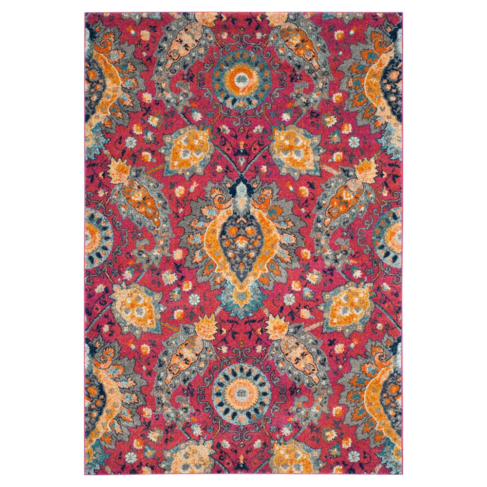 Fuchsia/Gold (Pink/Gold) Abstract Loomed Area Rug - (5'1