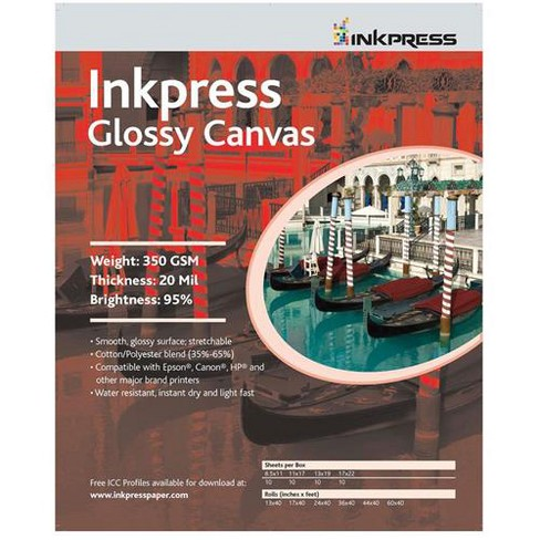 Inkpress Glossy Canvas, Waterproof, Stretchable, Bright White Glossy Inkjet Cloth, 20 mil, 350 gsm, 17 x35', Roll - image 1 of 1