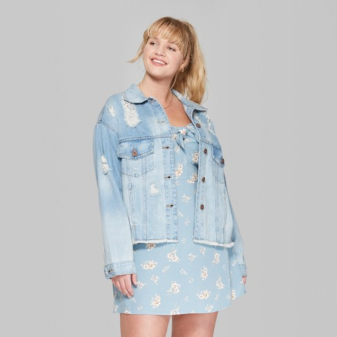 Women\'s Plus Size Acid Wash Destructed Denim Jacket - Wild Fable™ Medium  Wash 1X