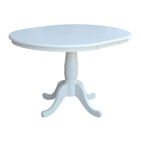 """36"""" Kyle Round Top Pedestal Table with 12"""" Drop Leaf White - International Concepts - image 1 of 4"""