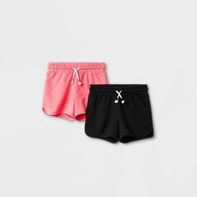 Girls' 2pk Knit Pull-On Shorts - Cat & Jack™ Bright Pink/Black