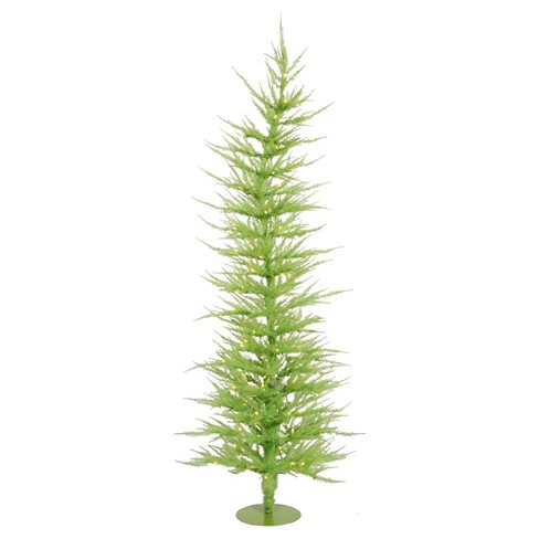 6ft Pre-Lit Artificial Christmas Tree Slim Green Laser - Clear Lights - image 1 of 1