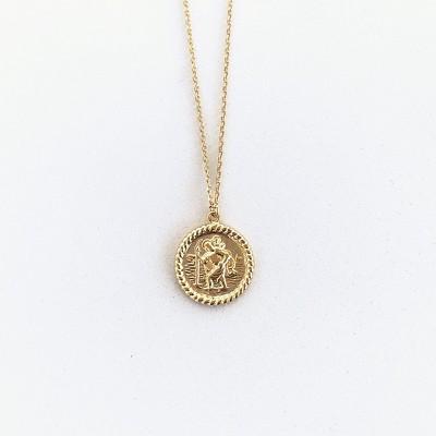 Sanctuary Project Saint Christopher Medallion Coin Necklace Gold