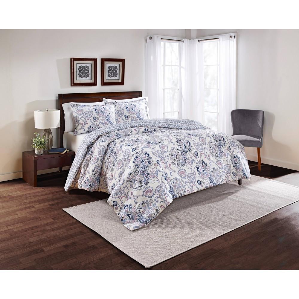 3pc Queen Floral Carlisle Reversible Comforter Set Blue Marble Hill