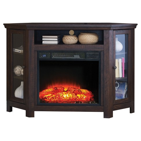 Wood 47 Corner Tv Stand With Fireplace Espresso Home Source