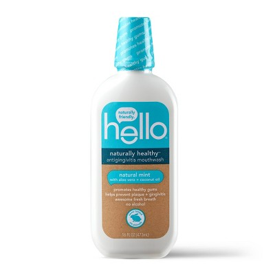 hello Naturally Healthy Antigingivitis Mouthwash , Alcohol Free and Vegan , 473ml