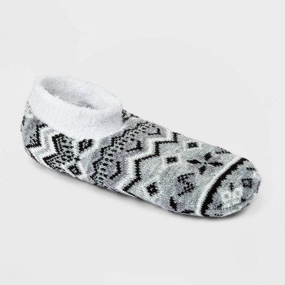 Women's Geo Double Lined Cozy Booties with Grippers - A New Day™ Heather Gray 4-10