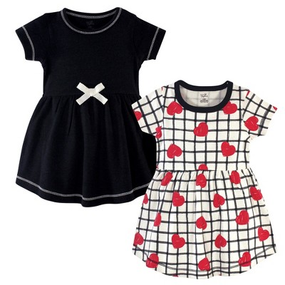 Touched by Nature Baby and Toddler Girl Organic Cotton Short-Sleeve Dresses 2pk, Black Red Heart