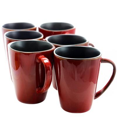 14oz 6pk Stoneware Heart Coffee Mugs Dark Red - Elama