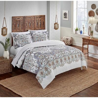 Boho Boutique Queen 3pc Rozella Reversible Comforter & Sham Set Blue