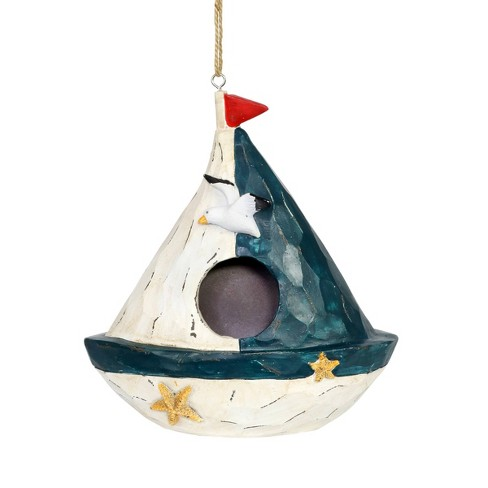 """7.99"""" Resin Sail Boat Bird House Blue/White - Exhart - image 1 of 4"""