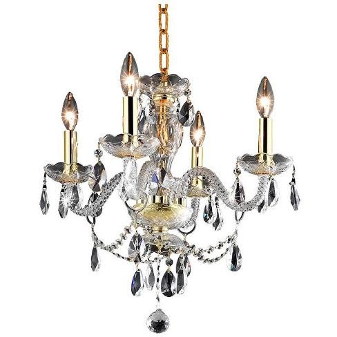 """Elegant Lighting LD7834D17 Elle 4 Light 17"""" Wide Crystal Chandelier - image 1 of 3"""