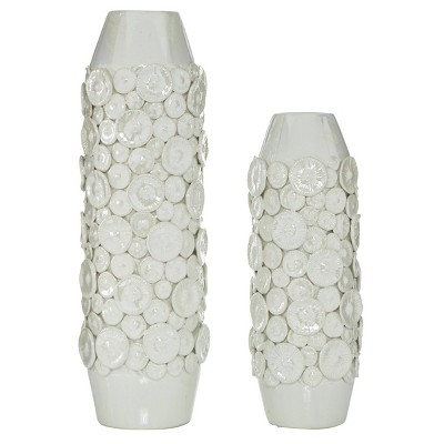 Set of 2 Round Ceramic Vase with Sand Dollar Texture Pattern White - Olivia & May