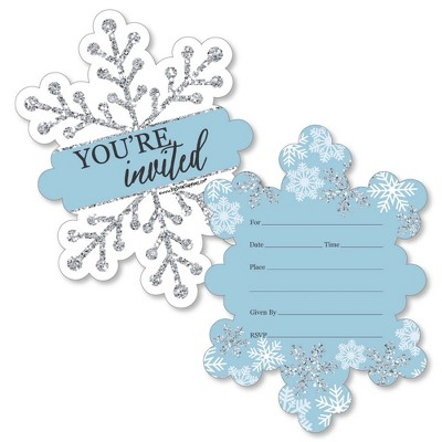 Big Dot of Happiness Winter Wonderland - Shaped Fill-in Invites - Snowflake Holiday Party and Winter Wedding Invites Cards with Envelopes - Set of 12