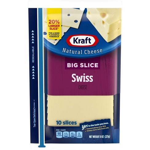 Kraft Big Slice Natural Swiss Cheese Slices - 8oz/10ct - image 1 of 3
