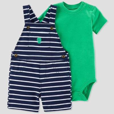 Baby Boys' 2pc Stripe Frog Shortall Set - Just One You® made by carter's Green/Navy Newborn