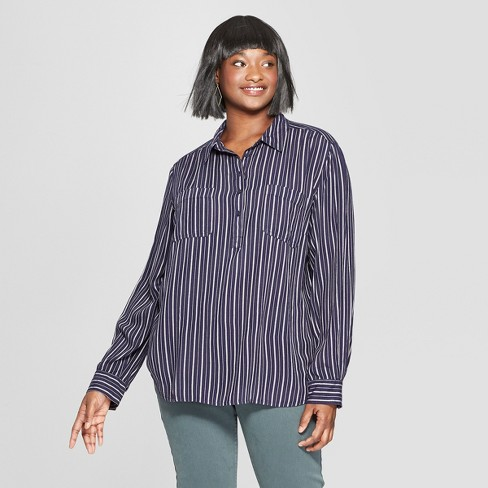 99087bc0 Women's Plus Size Striped Long Sleeve Tunic - Universal Thread™ Blue ...