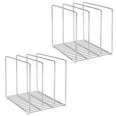 mDesign Metal Wire Pot/Pan Organizer Rack for Kitchen, 3 Slots, 2 Pack - Chrome