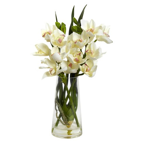 Nearly Natural Cymbidium Orchid with Vase - image 1 of 1