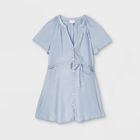 Short Sleeve Button-Down with Tie Waist Woven Popover Maternity Top - Isabel Maternity by Ingrid & Isabel™ - image 1 of 2