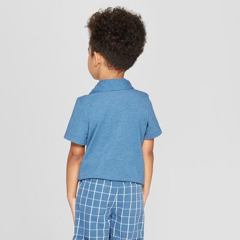 81702ca2 Toddler Boys' Short Sleeve Slub Jersey Polo Shirt - Cat & Jack™ Blue ...