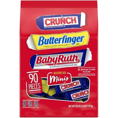 Ferrero Crunch, Butterfinger and BabyRuth Assorted Mini Chocolate Variety Pack - 35.9oz/90ct