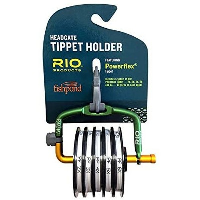 Rio Fly Fishing Metal Spring Loaded Headgate 7 Tippet Spool Dispenser with Line Cutter and 5 Pre-Loaded 2X, 3X, 4X, 5X, and 6X Nylon Powerflex Spools