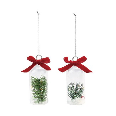 DEMDACO Ornament and Place Card Holders with Greenery - 2 Assorted Green