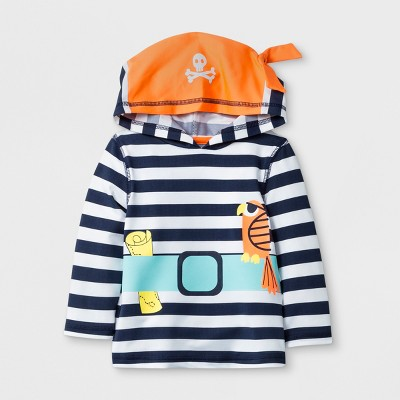 Baby Boys' Long Sleeve Pirate Hooded Rash Guard - Cat & Jack™ Navy 12M