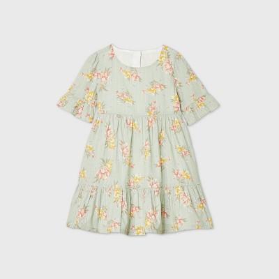 OshKosh B'gosh Toddler Girls' Floral Tiered 3/4 Sleeve Dress - Green 12M