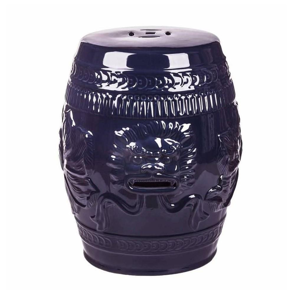 Chinese Lion Ceramic Garden Stool Navy Blue - Abbyson Living