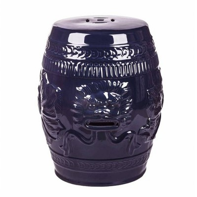 Genial Chinese Lion Ceramic Garden Stool Navy Blue   Abbyson Living