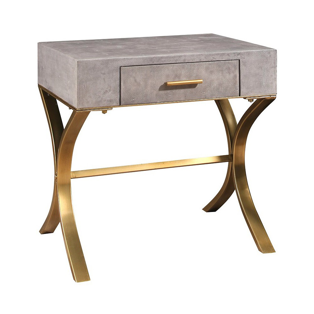 Niell Shagreen Leather End Table Gray - Abbyson Living