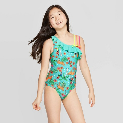 a488e0ba3c Girls' Jammin In The Jungle One Piece Swimsuit - Cat & Jack™ Aqua : Target
