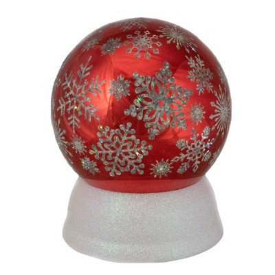 """Northlight 6.5"""" LED Lighted Shiny Red Snowflake Water Globe Tabletop Decoration"""
