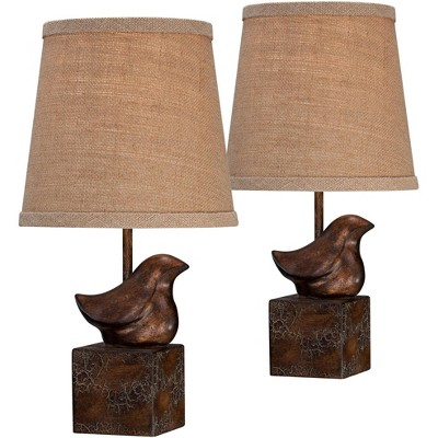 "360 Lighting Country Cottage Accent Table Lamps 15 1/2"" High Set of 2 Bronze Crackle Bird Natural Burlap Shade for Bedroom Bedside"
