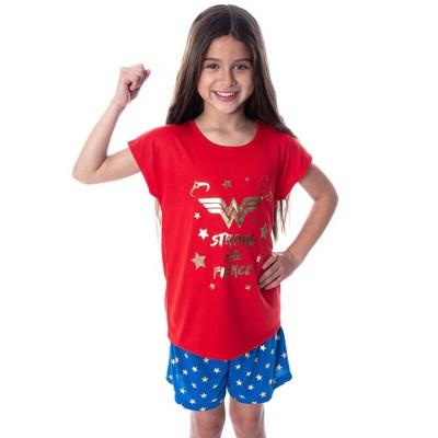DC Comics Girls' Wonder Woman Strong and Fierce Shirt and Shorts Pajama Set