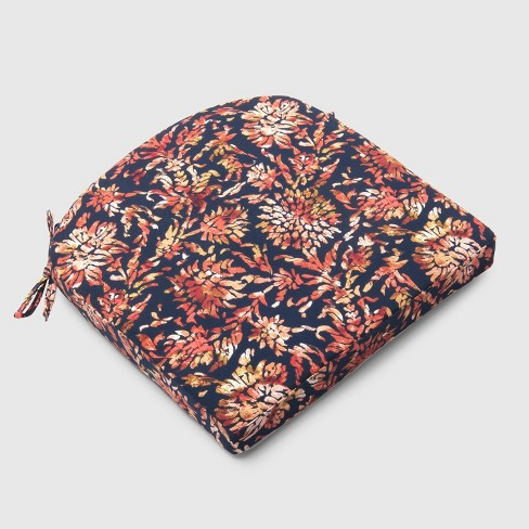 Watercolor Dahlia Outdoor Round Back Seat Cushion Navy - Threshold™ - image 1 of 3