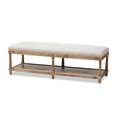 Celeste French Country Weathered Oak - Linen Upholstered Ottoman Bench Beige - Baxton Studio