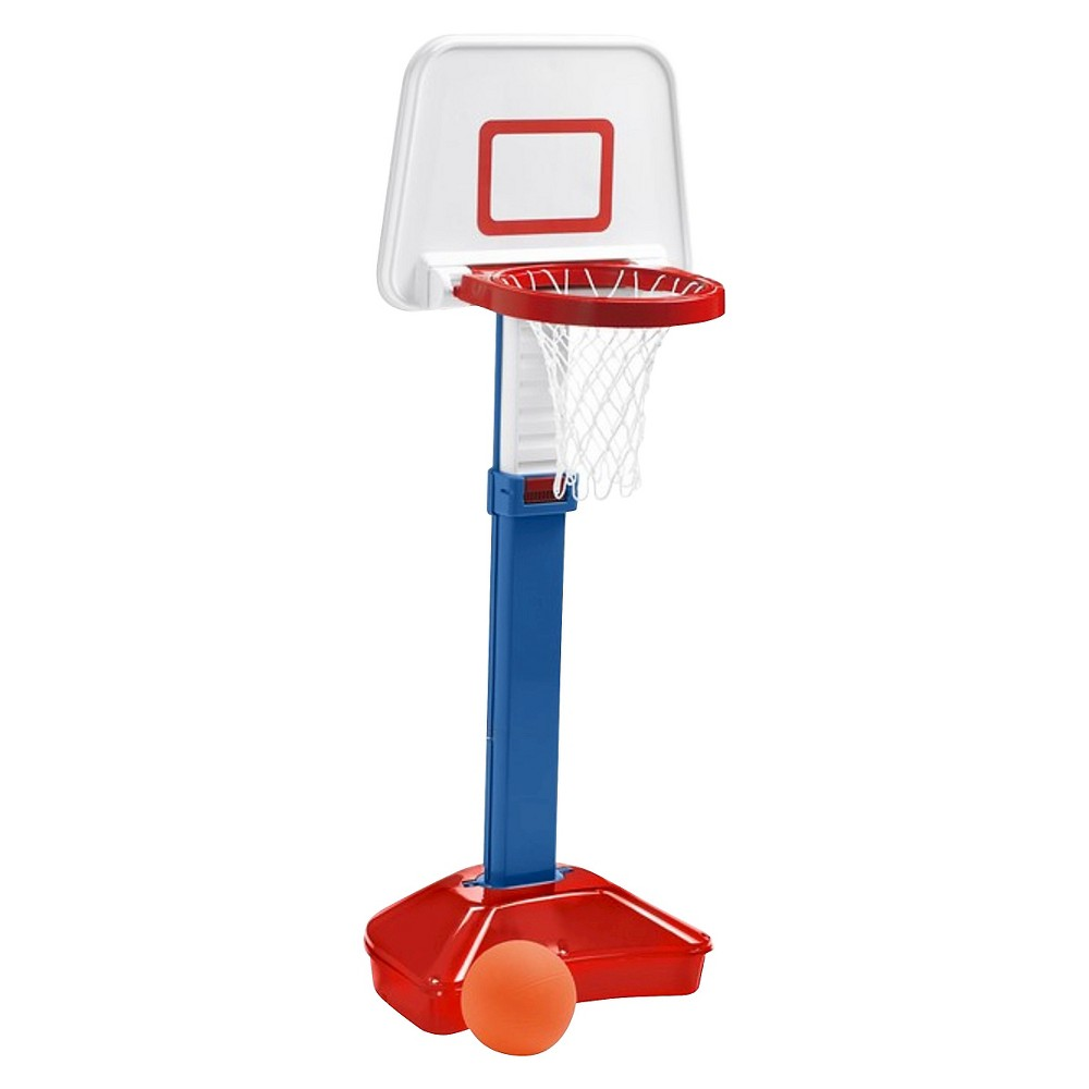 American Plastic Toys American Plastic Toys Basketball Set Time to shoot some hoops with the Jump N' Slam Basketball Set by American Plastic Toys! The sturdy plastic hoop adjusts from 31  to 39  tall, allowing your child to practice as they grow. Designed for children ages 1.5-5. The rim is designed to break away for safety and easy storage.