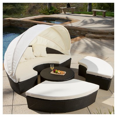 La Mesa 4pc Wicker Cabana And Canopy Set   Brown   Christopher Knight Home  : Target