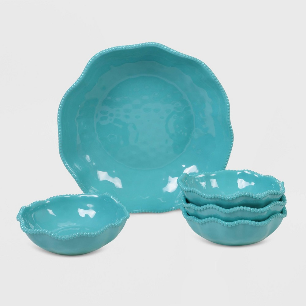Image of 5pc Melamine Perlette Salad/Serving Set Teal - Certified International, Blue