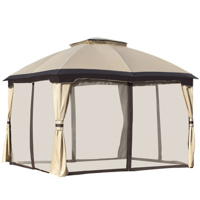 Outsunny 12' x 10' 2-Level Outdoor Gazebo Tent with Zippered Mesh Sidewalls, Solid Steel Frame, and Arched Roof